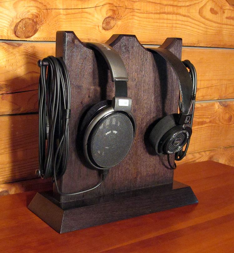 Double Headphone Stand W 2 Scoops Hal Woodworking